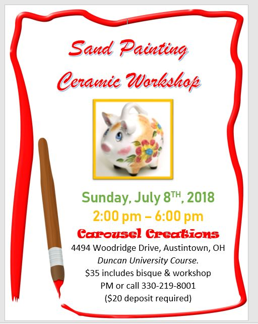 Sand Painting Ceramic Workshop POSTER 7-8-2018