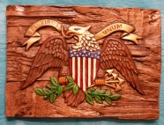 Alberta 0719 Eagle plaque on wood