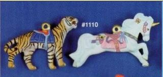 Alberta 1110 tiger & unicorn carousel ornaments