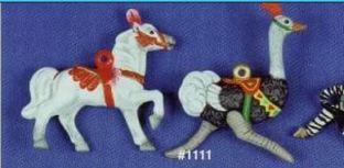 Alberta 1111 parade horse & ostrich carousel ornaments