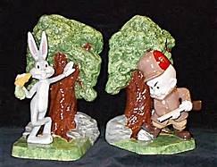 Duncan 0311 1056 & 0124B bugs bunny & elmer fudd bookends