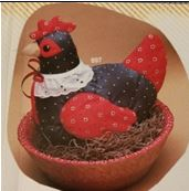 kimple 897 & 900 sstuffed hen & quilted basket