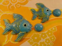 Ross 0568 & 0569 fish wall plaques with bubbles blue