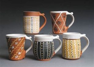 slip trailed mugs