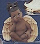 Clay Magic 1355 AfAm girl daydreamer cherub