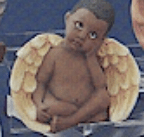 Clay Magic 1356 AfAm boy daydreamer cherub