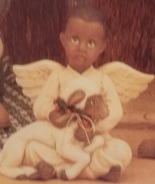 Clay Magic1238 & 1239 AfAm boy & girl angels with lambs