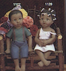 clay magic 1127 & 1128 afam girl & boy shelf sitters