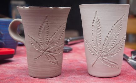carved leaves on cups