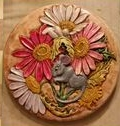 Doc Holliday (Kinzie) K1R Mouse Hiding in Flowers Lid Stepping Stone (Carol)