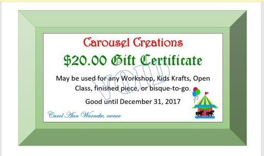GIFT CERTIFICATE VOID
