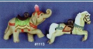 Alberta 1113 elephant & jumper carousel ornaments