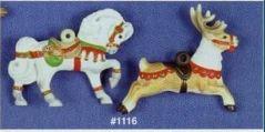 Alberta 1116 Christmas horse & reindeer carousel ornaments
