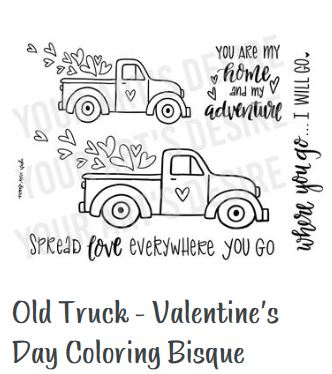 valentine's day silkscreen old truck