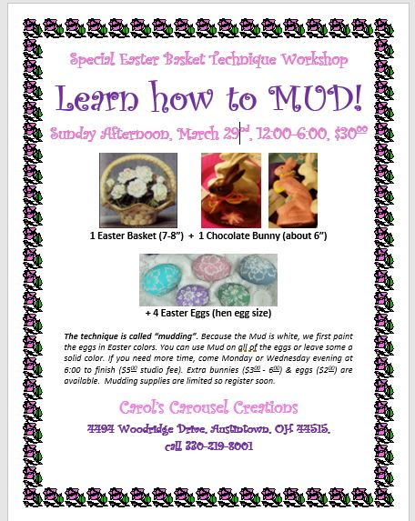 2020 Easter Workshop learn how to mud