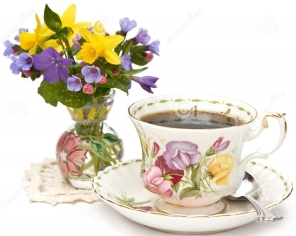 spring teacup and flowers