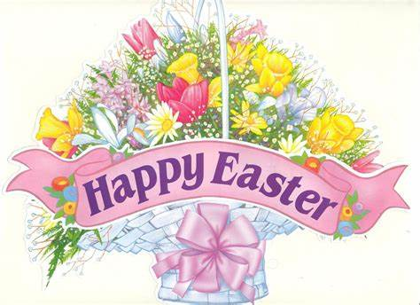 happy easter flower basket clipart