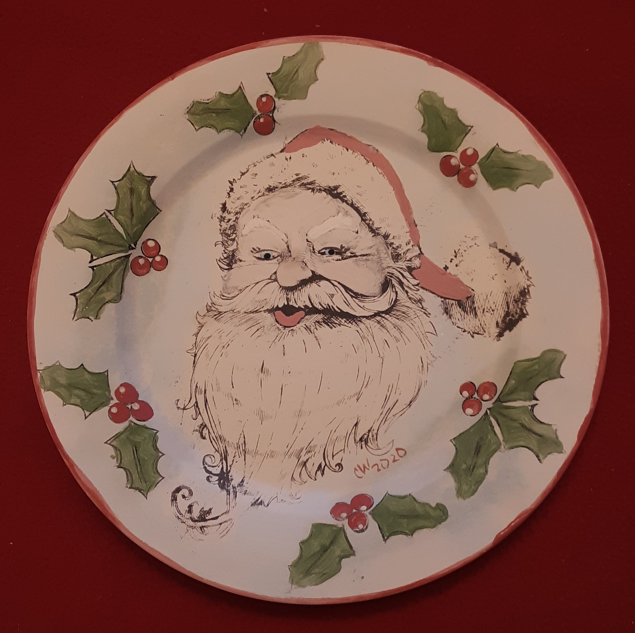 Santa silkscreen plate with holly leaves (2)